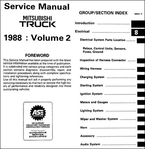 1988 mitsubishi truck repair shop manual set original
