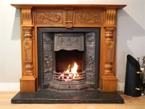 solid wood fireplace surround cast iron insert for sale in