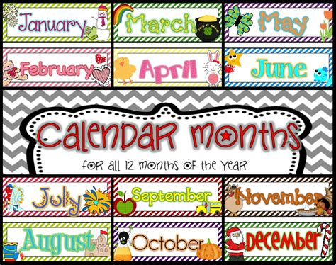 Calendar Headers Teaching 12 Month Calendar Card Pack