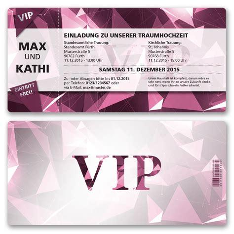 Einladung Hochzeit Pink by Einladungskarten Zur Hochzeit Als Eintrittskarte Vip