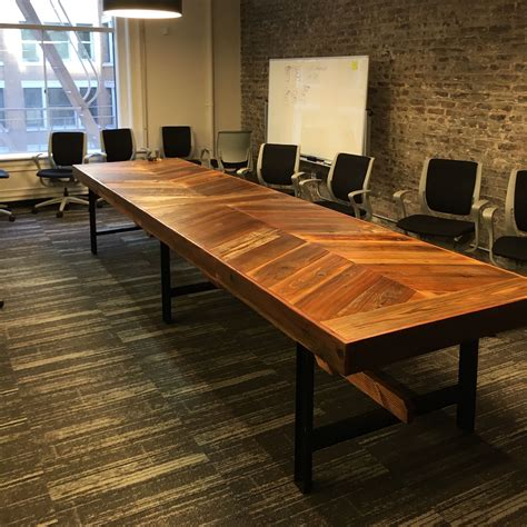 Wooden Meeting Table Crafted Reclaimed Wood Chevron Conference Table By Mining Company Custommade