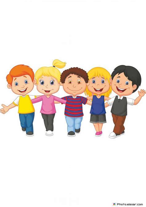 children clipart happy kid walking together clip