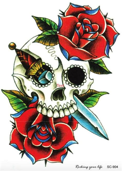 rose temporary tattoo skull roses temporary arm sleeve mybodiart