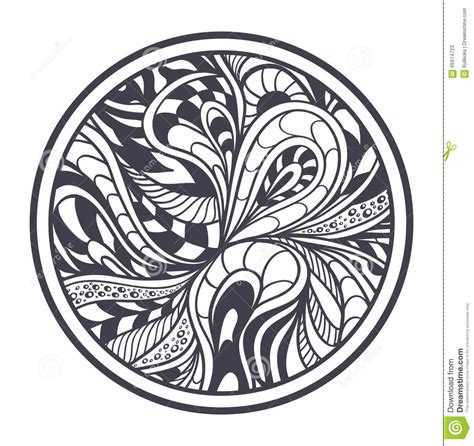 abstract circle coloring page abstract background in zen tangle zen doodle style black