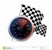 Competindo O Veloc&237metro E A Bandeira Quadriculado Vetor