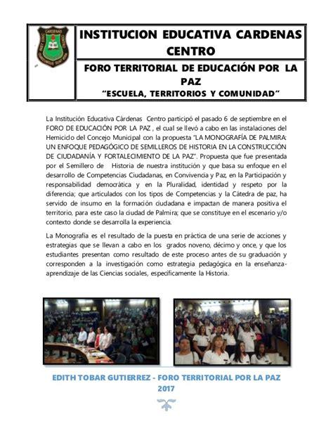 cardenas ad el centro ca foro territorial de educaci 243 n por la paz