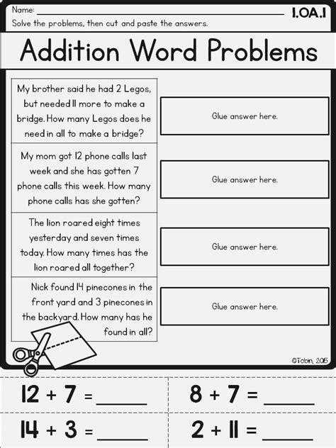 Addition Word Problems For Grade 1 Worksheets