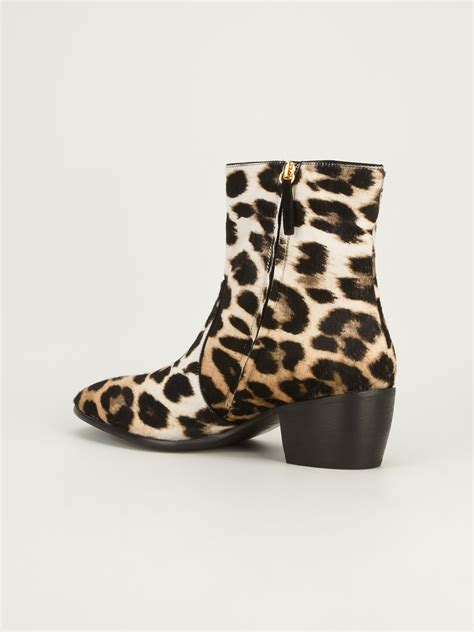 design lab leopard boots giuseppe zanotti leopard print ankle boots in beige for