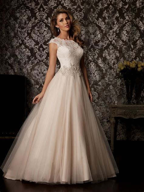 reem acra blush lace wedding dress Naf Dresses