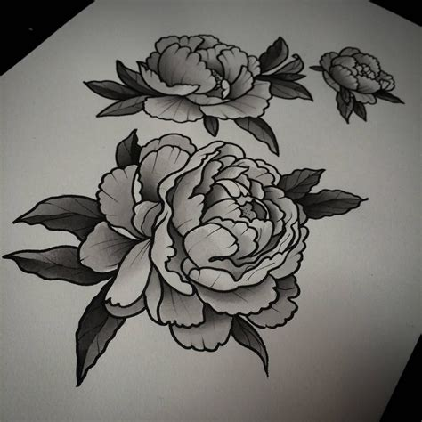 grey flower tattoo designs black and grey peony flowers designs flowers