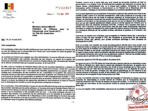 Modèle De Lettre Administrative à Un Ministre Lettre R 233 Ponse Du Premier Ministre Les Quot Civilit 233 S Quot De Dionne 224 L Endroit D Absolu Mbaye
