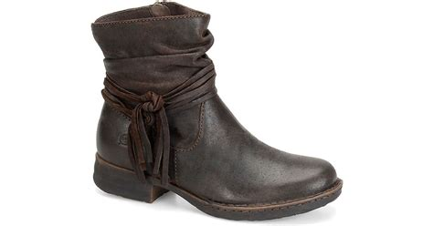 born cross knotted suede ankle boots in brown brown