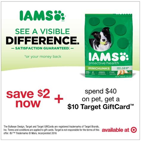 Good Food Gift Card Promo Code - iams dog food coupon gift card offer at target