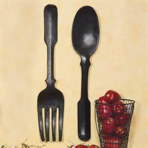 Fork And Spoon Wall Decor by Shelley B Decor And More Large Black Spoon And Fork Wall