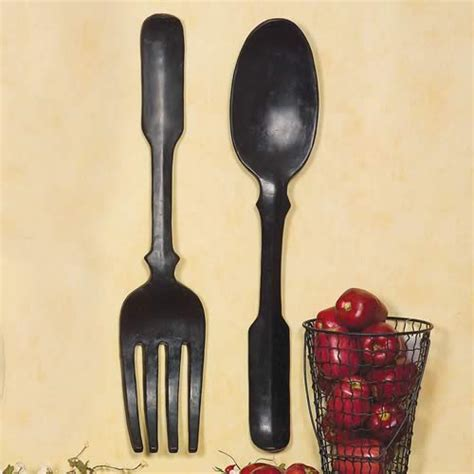 wall decor spoon and fork shelley b decor and more large black spoon and fork wall
