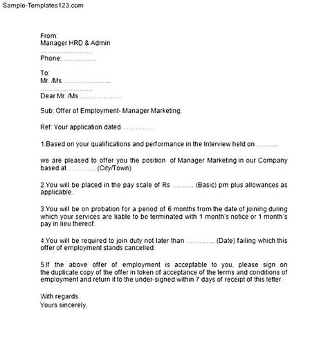 Offer Letter Sle For It Sle Letter Offer From Employer 28 Images Doc 572739