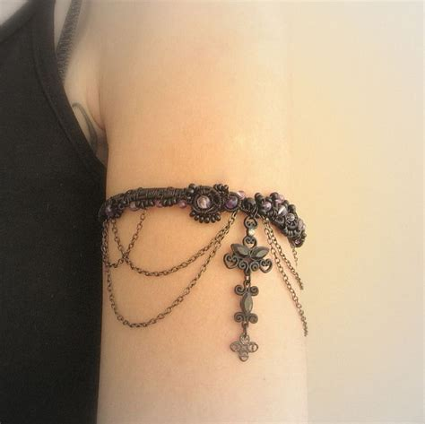 arm tattoo jewelry gothic upper arm cuff bracelete armlet with amethyst beads