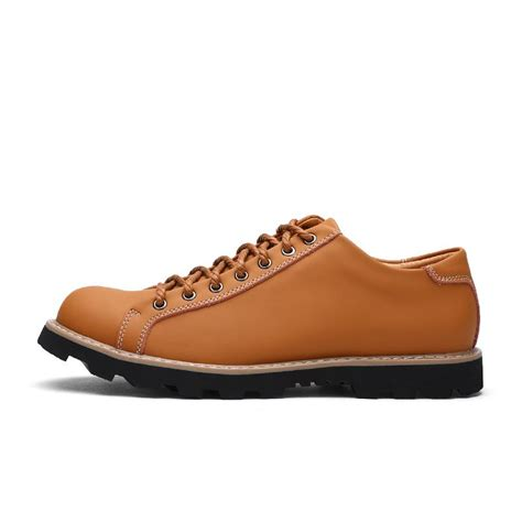 low cut work boots mens genuine leather autumn lace up casual shoes low cut