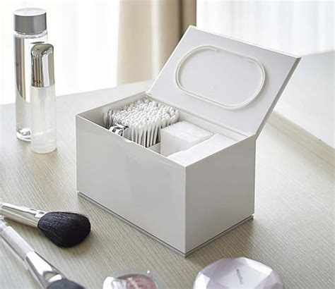 Storage Boxes For Bathroom Store Cotton Pad And Bud Lidded Storage Box
