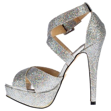 all high heel shoes shoekandi strappy glitter stiletto platform high heel