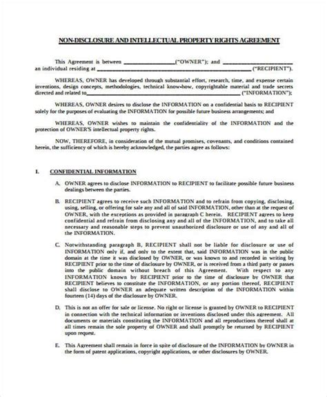 patent non disclosure agreement template 7 patent agreement form sles free sle exle