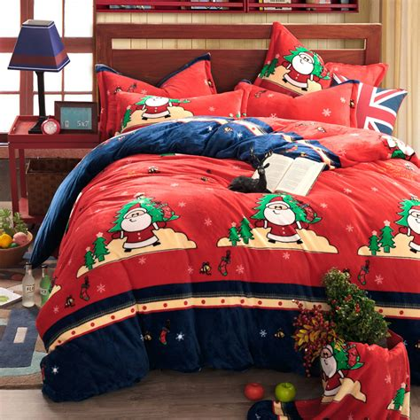 king size christmas bedding duvet cover set flannel 4pcs bedding set bed sheet set