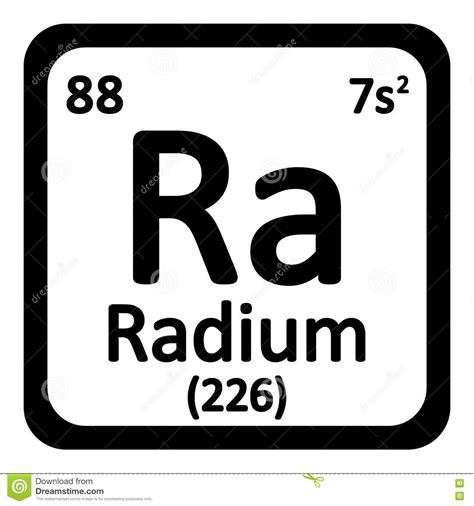 Ra Periodic Table by Periodic Table Element Radium Icon Stock Illustration