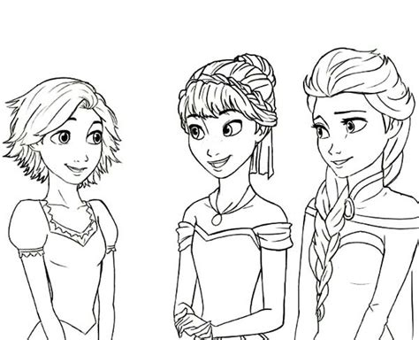coloring book tangled and frozen for ages 4 10 books rapunzel princess elsa cousin coloring pages