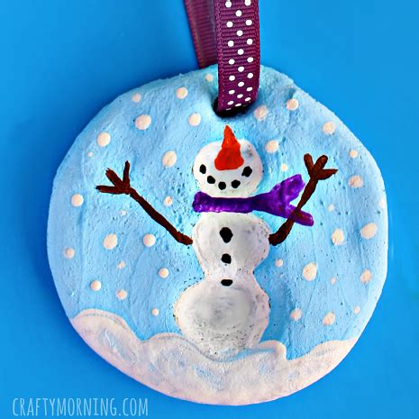 play dough xmas ornaments fingerprint snowman salt dough ornament crafty morning