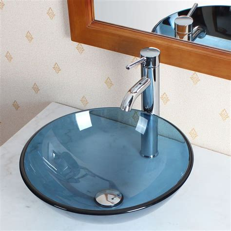 details about bathroom clear blue glass vessel sink