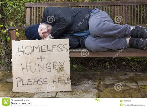 hobo on a bench homeless hungry stock image image 13724161