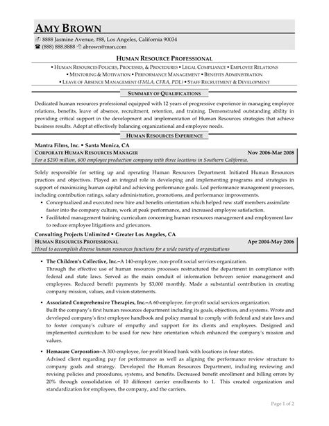 Hr Resume Exles by Human Resources Resume Exles Resume Professional Writers