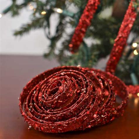 red sparkle mesh ribbon garland christmas and winter