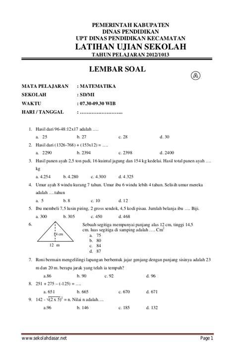 soal us sd 2016 kls 6 soal ujian matematika smp image latihan sd soal matematika