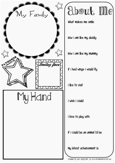 activities kindergarten students ernie bird by lis o brien all about me activity sheet