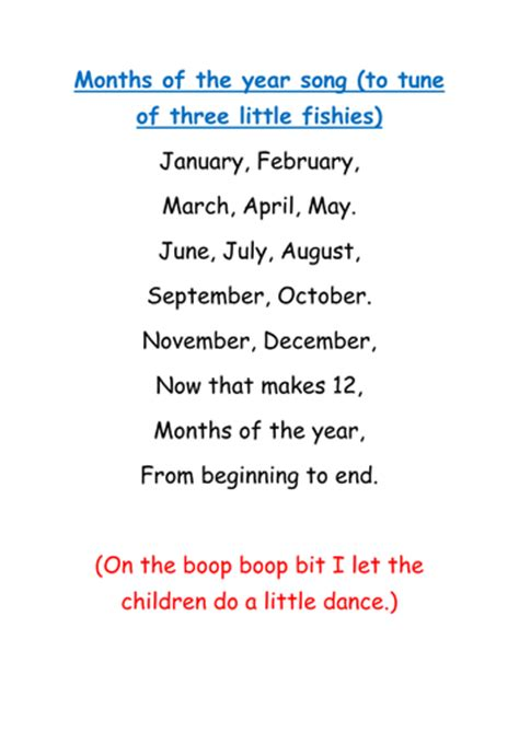 song of the year months of the year song by missjojo uk teaching