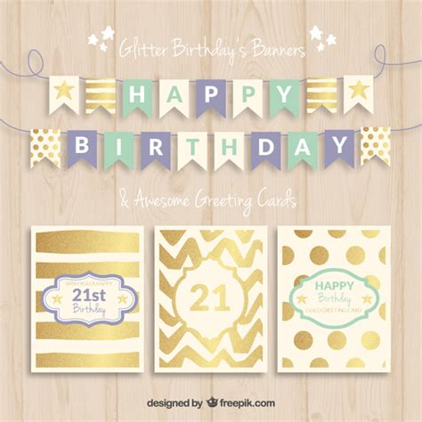 happy birthday banner card template birthday banners and cards vector free