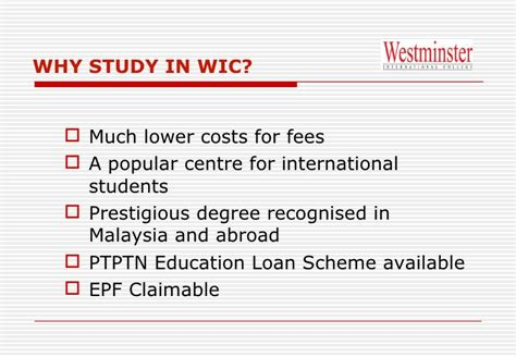 Westminster College Mba Fees by Westminster International College Wic