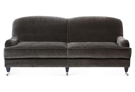 charcoal velvet sofa velvet sofa charcoal sofas loveseats from one kings lane