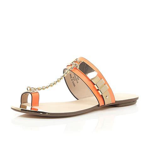 chain sandals river island orange snake print chain sandals in orange lyst
