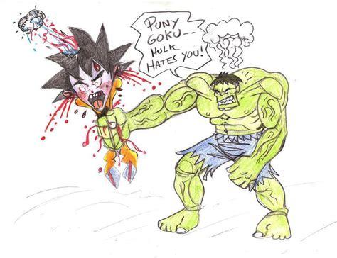 imagenes de goku vs hulk hulk vs goku by bluehawk 55 on deviantart