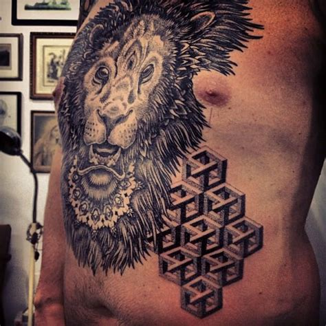 lion mandala tattoo a mandala and impossible object illusions combine in