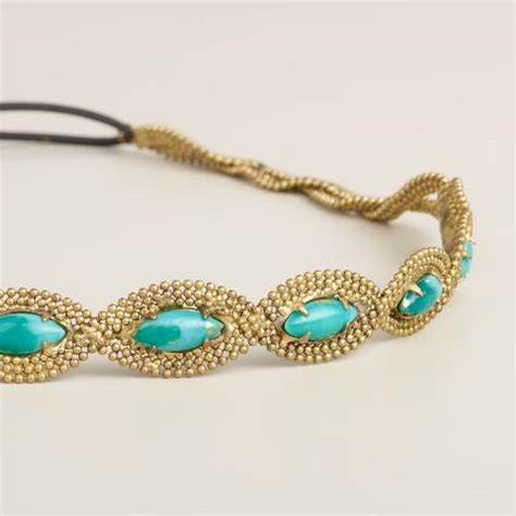 beaded elastic headbands turquoise and gold chain beaded elastic headband world