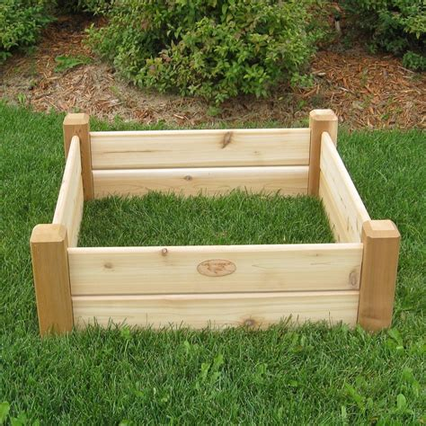 raised cedar garden bed shop gronomics 34 in w x 34 in l x 13 in h natural cedar