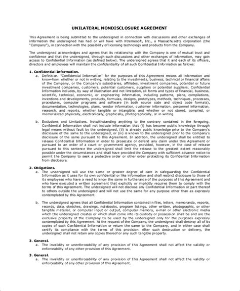 unilateral non disclosure agreement template sle non disclosure agreement 8 exles in word pdf