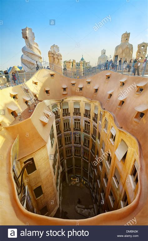 Mil Apartment view of the roof and the courtyards of casa mila la