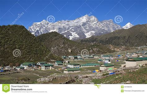 House Design Plans In Nepal by Sherpa Village Khumjung And Mountain Stock Photo Image