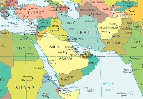 only pictures map of middle east countries