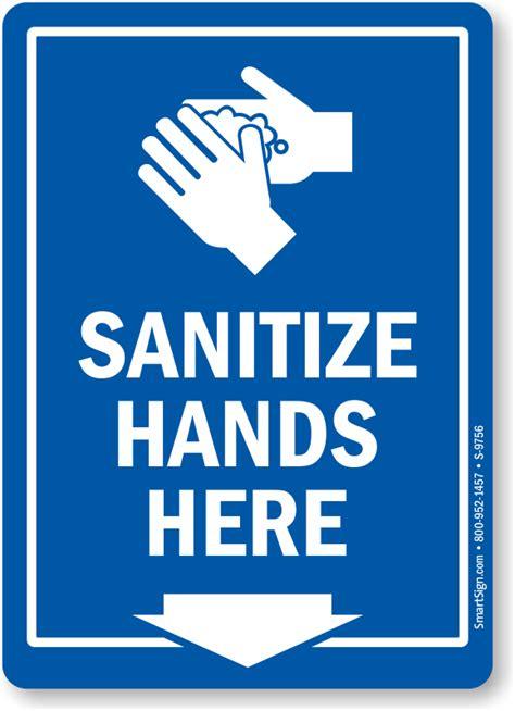 Designer Door by Sanitize Hands Here Sign With Down Arrow Symbol Sku S 9756