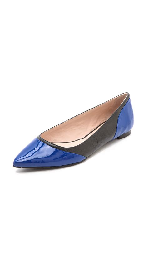 Flat Shoes Blue S30102 1 lyst kate spade new york glinda colorblock flats in blue